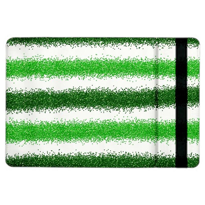 Metallic Green Glitter Stripes iPad Air 2 Flip