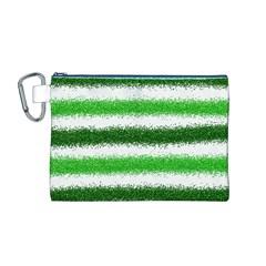 Metallic Green Glitter Stripes Canvas Cosmetic Bag (M)