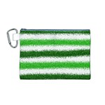 Metallic Green Glitter Stripes Canvas Cosmetic Bag (M) Front