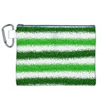 Metallic Green Glitter Stripes Canvas Cosmetic Bag (XL) Front