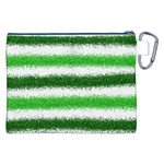 Metallic Green Glitter Stripes Canvas Cosmetic Bag (XXL) Back