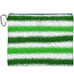 Metallic Green Glitter Stripes Canvas Cosmetic Bag (XXXL) Front
