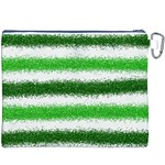 Metallic Green Glitter Stripes Canvas Cosmetic Bag (XXXL) Back