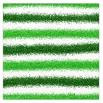 Metallic Green Glitter Stripes Large Satin Scarf (Square) Front