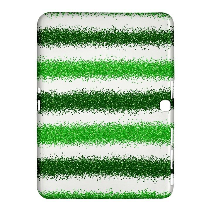 Metallic Green Glitter Stripes Samsung Galaxy Tab 4 (10.1 ) Hardshell Case