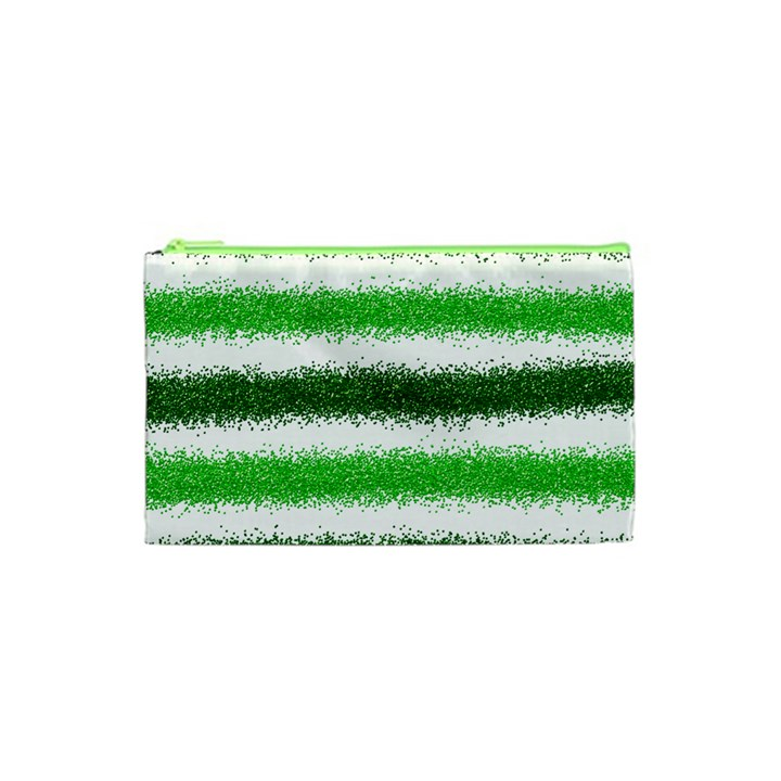 Metallic Green Glitter Stripes Cosmetic Bag (XS)