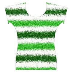 Metallic Green Glitter Stripes Women s Cap Sleeve Top
