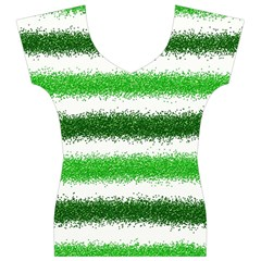 Metallic Green Glitter Stripes Women s V-Neck Cap Sleeve Top