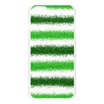 Metallic Green Glitter Stripes Apple Seamless iPhone 6 Plus/6S Plus Case (Transparent) Front