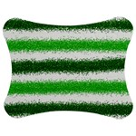Metallic Green Glitter Stripes Jigsaw Puzzle Photo Stand (Bow) Front