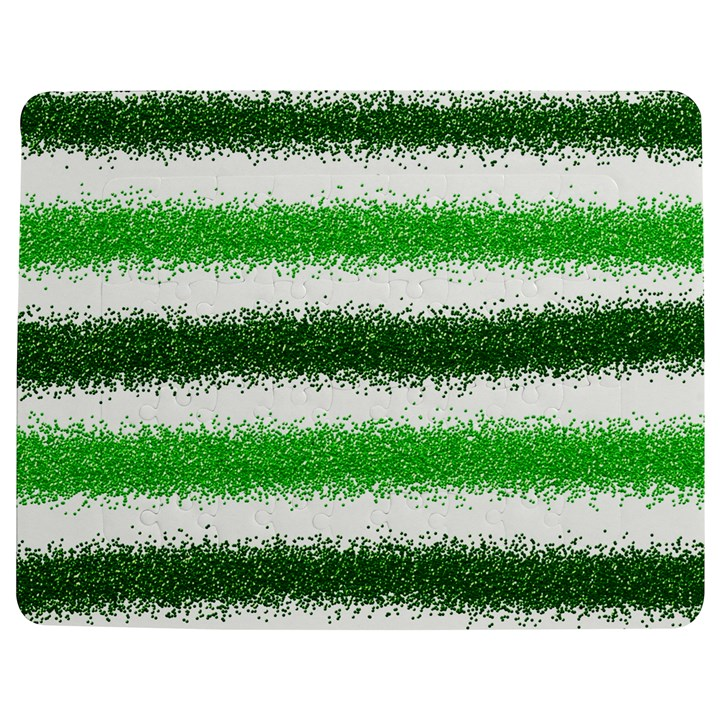 Metallic Green Glitter Stripes Jigsaw Puzzle Photo Stand (Rectangular)