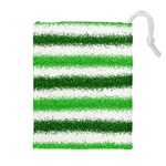 Metallic Green Glitter Stripes Drawstring Pouches (Extra Large) Front