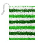 Metallic Green Glitter Stripes Drawstring Pouches (Extra Large) Back