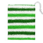 Metallic Green Glitter Stripes Drawstring Pouches (XXL) Front