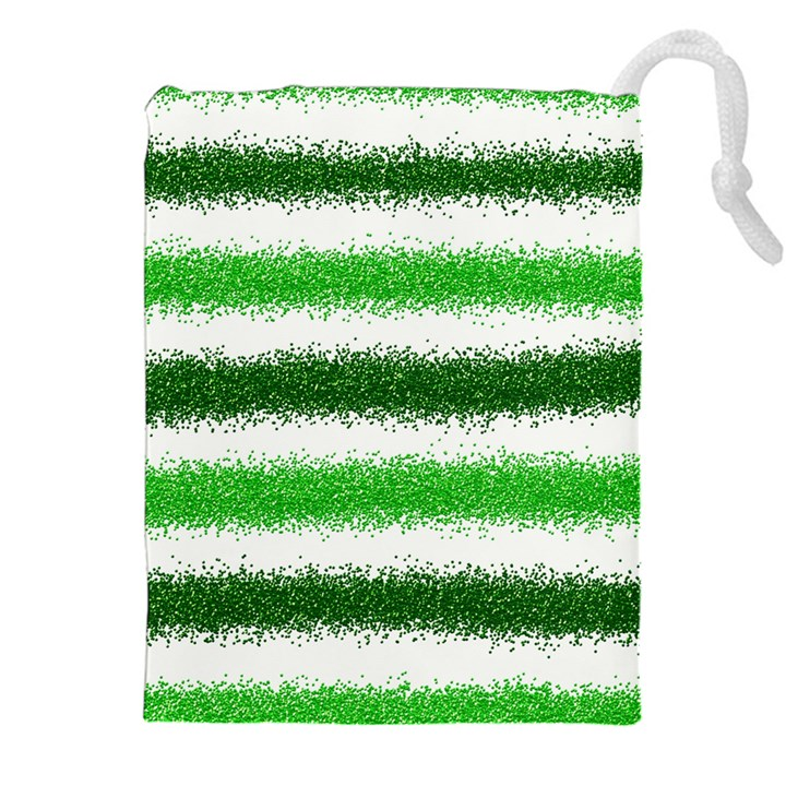 Metallic Green Glitter Stripes Drawstring Pouches (XXL)