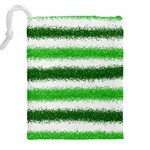 Metallic Green Glitter Stripes Drawstring Pouches (XXL) Back