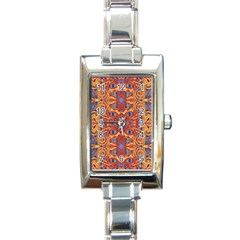 Oriental Watercolor Ornaments Kaleidoscope Mosaic Rectangle Italian Charm Watch