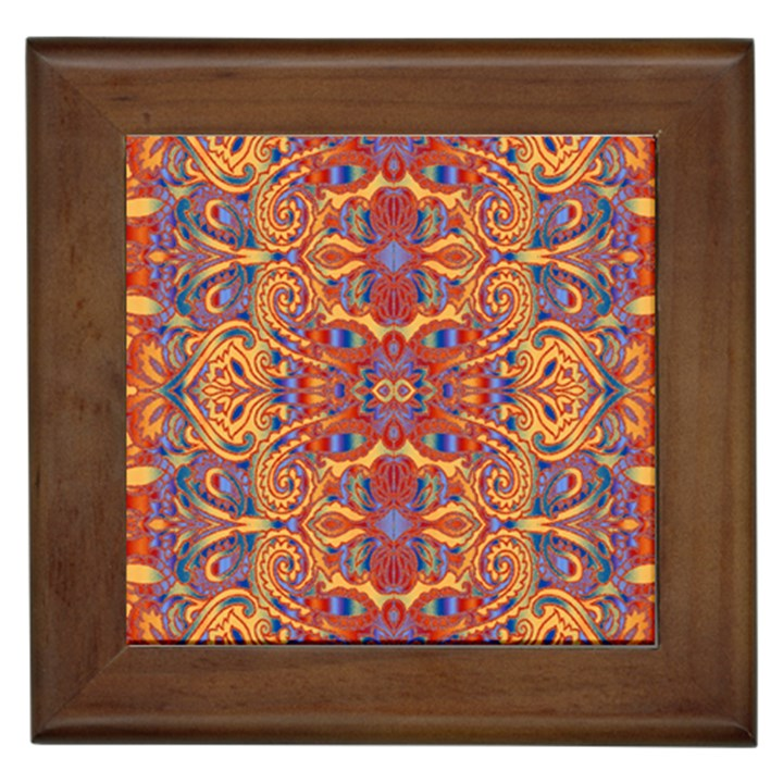 Oriental Watercolor Ornaments Kaleidoscope Mosaic Framed Tiles