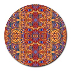 Oriental Watercolor Ornaments Kaleidoscope Mosaic Round Mousepads