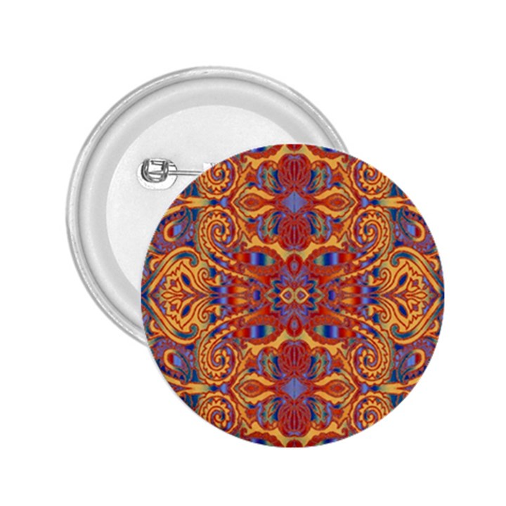 Oriental Watercolor Ornaments Kaleidoscope Mosaic 2.25  Buttons