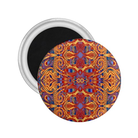 Oriental Watercolor Ornaments Kaleidoscope Mosaic 2.25  Magnets