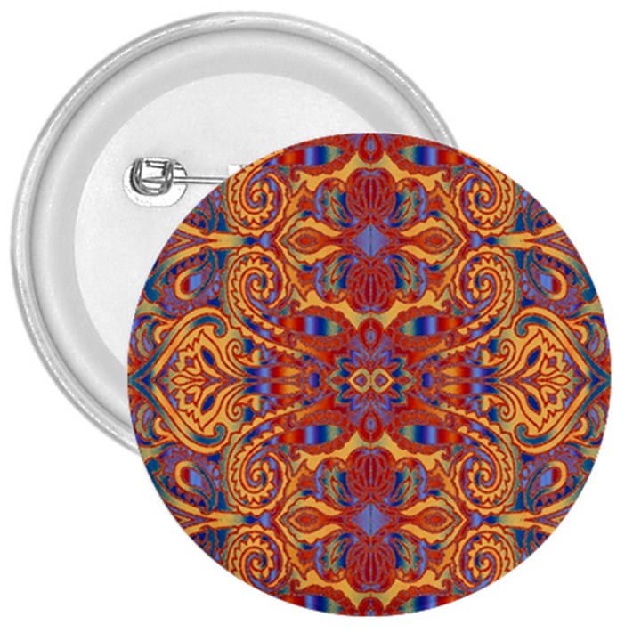 Oriental Watercolor Ornaments Kaleidoscope Mosaic 3  Buttons