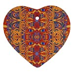 Oriental Watercolor Ornaments Kaleidoscope Mosaic Ornament (Heart)  Front