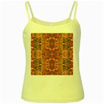 Oriental Watercolor Ornaments Kaleidoscope Mosaic Yellow Spaghetti Tank Front