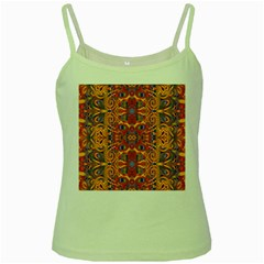 Oriental Watercolor Ornaments Kaleidoscope Mosaic Green Spaghetti Tank