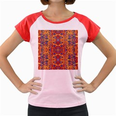 Oriental Watercolor Ornaments Kaleidoscope Mosaic Women s Cap Sleeve T Shirt
