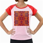 Oriental Watercolor Ornaments Kaleidoscope Mosaic Women s Cap Sleeve T-Shirt Front