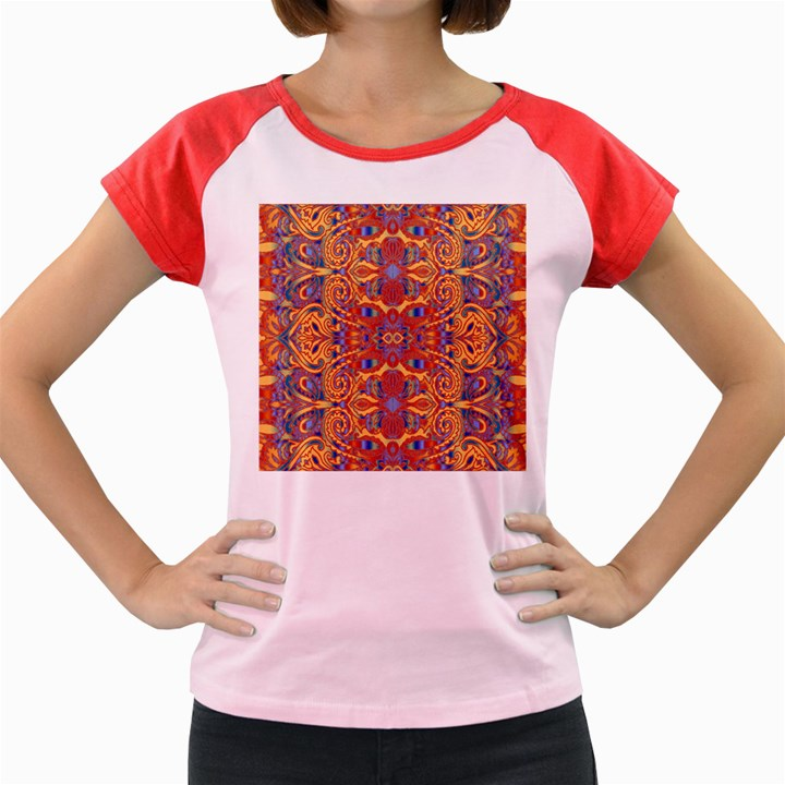Oriental Watercolor Ornaments Kaleidoscope Mosaic Women s Cap Sleeve T-Shirt