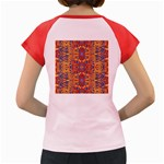 Oriental Watercolor Ornaments Kaleidoscope Mosaic Women s Cap Sleeve T-Shirt Back