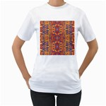 Oriental Watercolor Ornaments Kaleidoscope Mosaic Women s T-Shirt (White) (Two Sided) Front