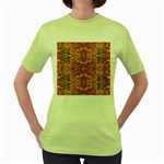 Oriental Watercolor Ornaments Kaleidoscope Mosaic Women s Green T-Shirt Front