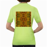 Oriental Watercolor Ornaments Kaleidoscope Mosaic Women s Green T-Shirt Back