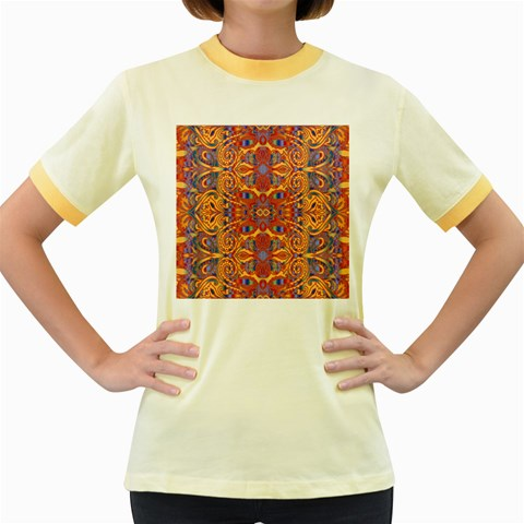 Oriental Watercolor Ornaments Kaleidoscope Mosaic Women s Fitted Ringer T-Shirts