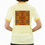 Oriental Watercolor Ornaments Kaleidoscope Mosaic Women s Fitted Ringer T-Shirts Back