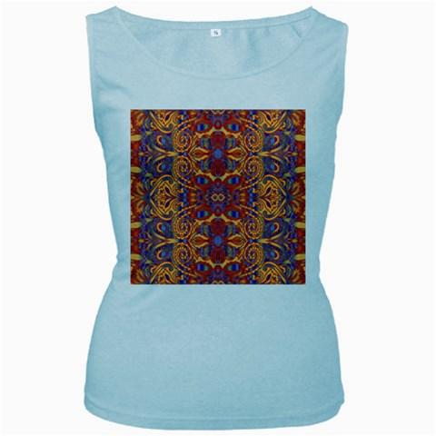 Oriental Watercolor Ornaments Kaleidoscope Mosaic Women s Baby Blue Tank Top