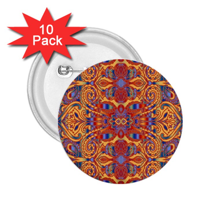 Oriental Watercolor Ornaments Kaleidoscope Mosaic 2.25  Buttons (10 pack)