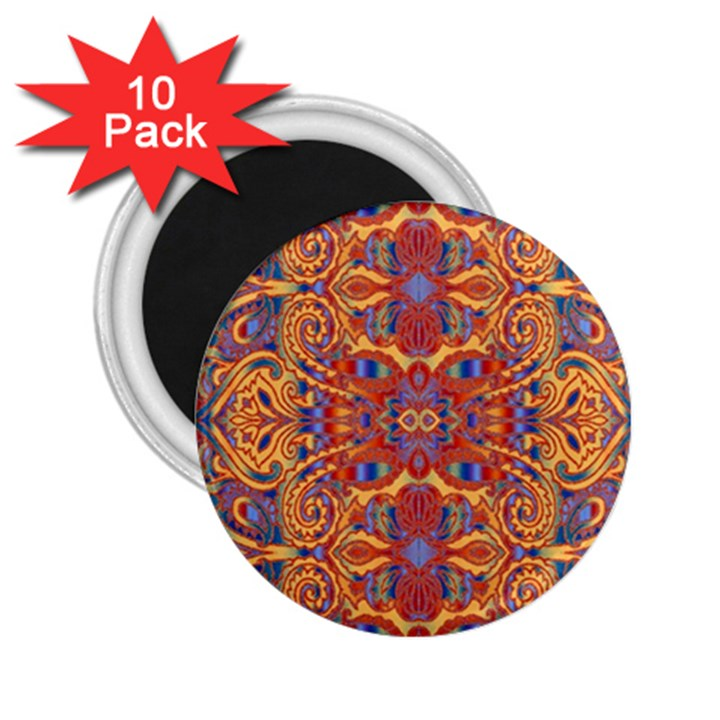 Oriental Watercolor Ornaments Kaleidoscope Mosaic 2.25  Magnets (10 pack)