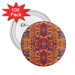 Oriental Watercolor Ornaments Kaleidoscope Mosaic 2 25  Buttons (100 Pack)