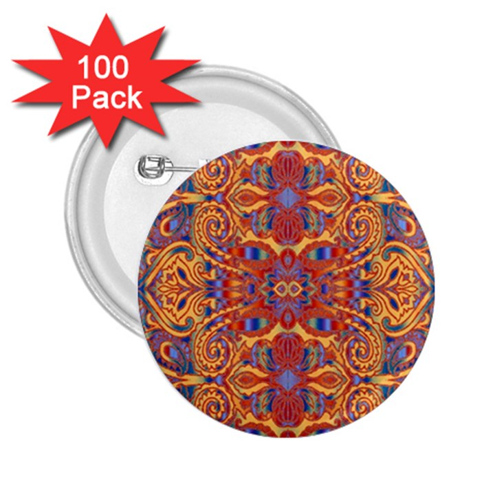 Oriental Watercolor Ornaments Kaleidoscope Mosaic 2.25  Buttons (100 pack)