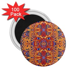 Oriental Watercolor Ornaments Kaleidoscope Mosaic 2 25  Magnets (100 Pack)