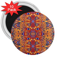 Oriental Watercolor Ornaments Kaleidoscope Mosaic 3  Magnets (10 pack)