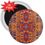 Oriental Watercolor Ornaments Kaleidoscope Mosaic 3  Magnets (10 pack)  Front