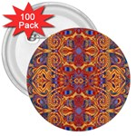 Oriental Watercolor Ornaments Kaleidoscope Mosaic 3  Buttons (100 pack)  Front