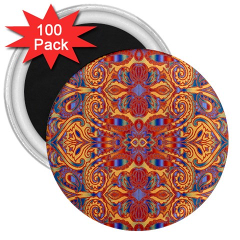Oriental Watercolor Ornaments Kaleidoscope Mosaic 3  Magnets (100 pack)