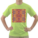 Oriental Watercolor Ornaments Kaleidoscope Mosaic Green T-Shirt Front