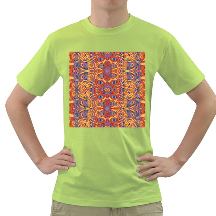 Oriental Watercolor Ornaments Kaleidoscope Mosaic Green T-Shirt